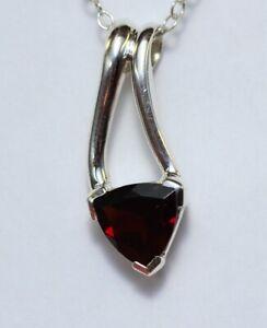 Edler-2-0-Carat-Granat-Anhaenger-925-Silber-Collier-Kette-blutroter-Edelstein