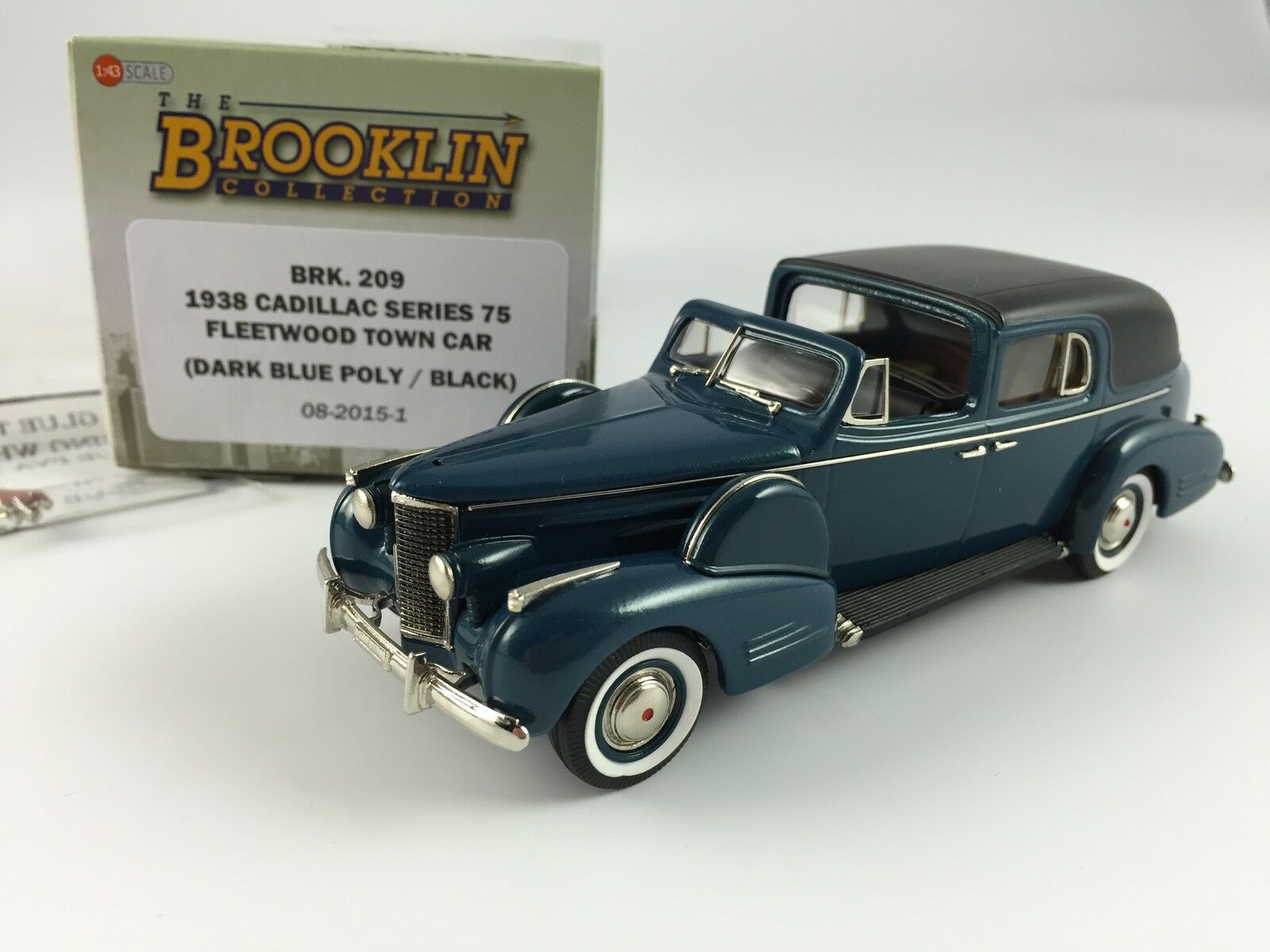 1/43 FLEETWOOD BROOKLIN 209 CADILLAC SERIE 75 FLEETWOOD 1/43 TOWN CAR 1938 DARK BLUE POLY BLACK f2765f