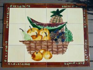 12 Kacheln Fliesen Stillleben-Bild Obstkorb Motiv mediterran Landhausstil