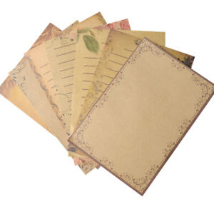 56pcs Retro Vintage Letter Paper Brown Kraft Writing Paper Stationery Gifts