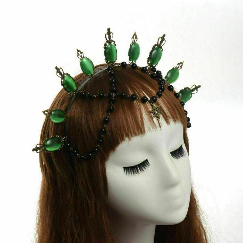 Women's Crown Headband Costume Green Stone Beads Fancy Dress Party Headwear
