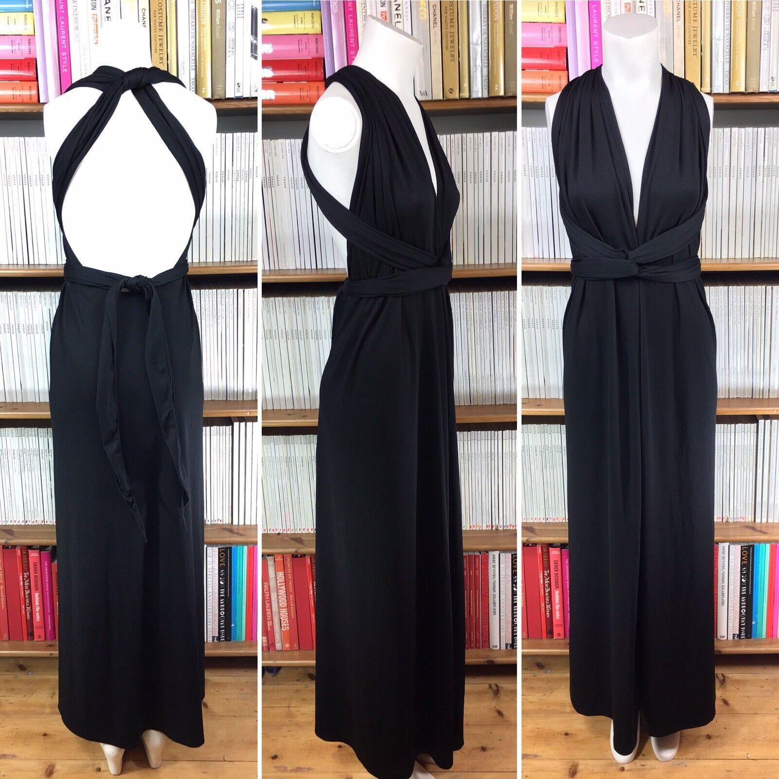 Vintage 1970s grecian draped dress multi-way maxi plunge US 4 6 8