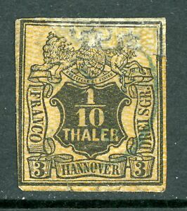 Germany-1856-Hannover-1-10-Thaler-Black-amp-Orange-Large-Mesh-SG-17-VFU-F969
