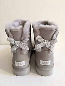 06764ba224d Details about UGG CLASSIC MINI BAILEY BOW STRIPE SEAL GREY BOOT US 7 / EU  38 / UK 5.5 - NIB