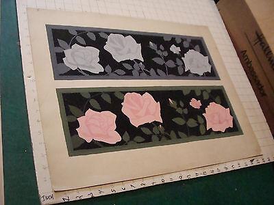 "Art Brilliant Original Circa 1920's School Art By G Schoeling 2 Patterns Of Flowers 19 X 24"""