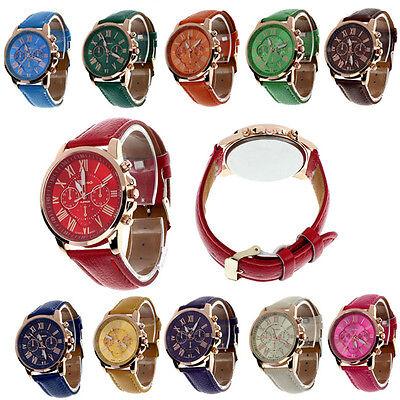 Fashion Geneva Roman Numerals Faux Leather Analog Quartz Women Wrist Watch