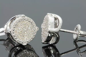 .30 CARAT WHITE GOLD FINISH MENS WOMENS 9mm 100% REAL DIAMONDS EARRINGS STUDS
