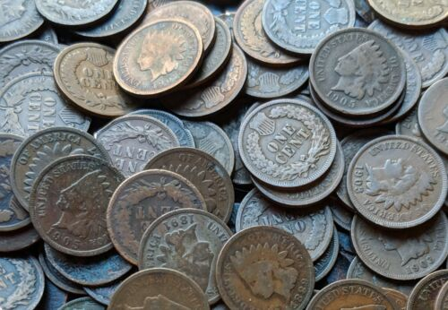 CIRCULATED COINS ~ $1 FV Rare Old US Coin Lot Indian Head Pennies ~ 100 AVG
