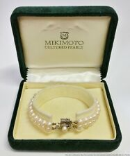 Vintage Mikimoto Double Strand 2 Row 5.3mm Cultured Pearl Bracelet w Box