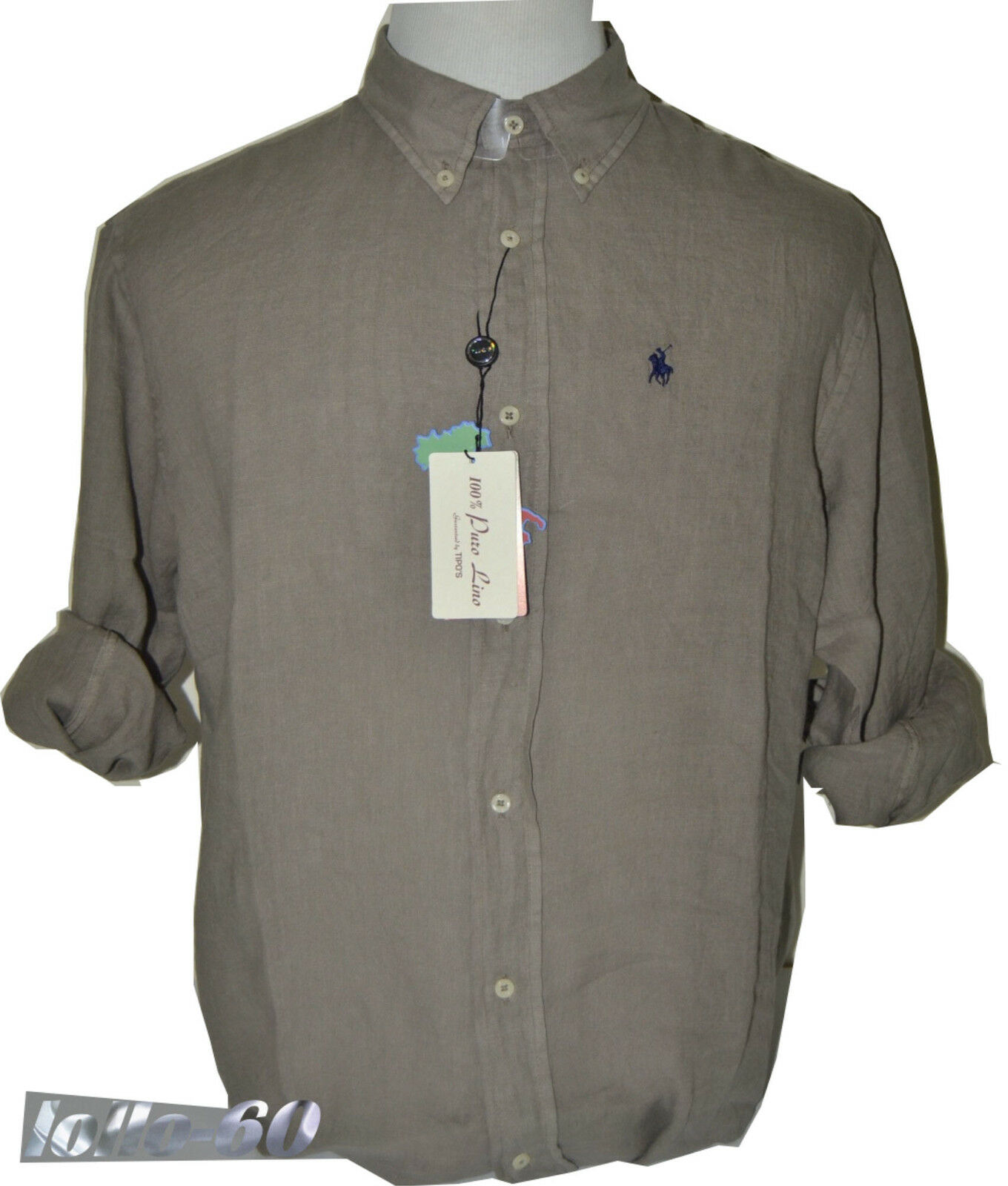 MEN'S SHIRTS Plus sizes puro lino KS 3XL - KM 4XL - KL 5XL - KKL 6XL mud
