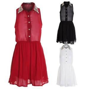 c5038e437dea13 Women's Red White Black Collar Silver Studded Chiffon Ladies Blouse ...
