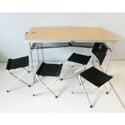 10T 760292 Campingtisch porTABLE Family silber 120x60x70 cm mit 4 Stühle ED9