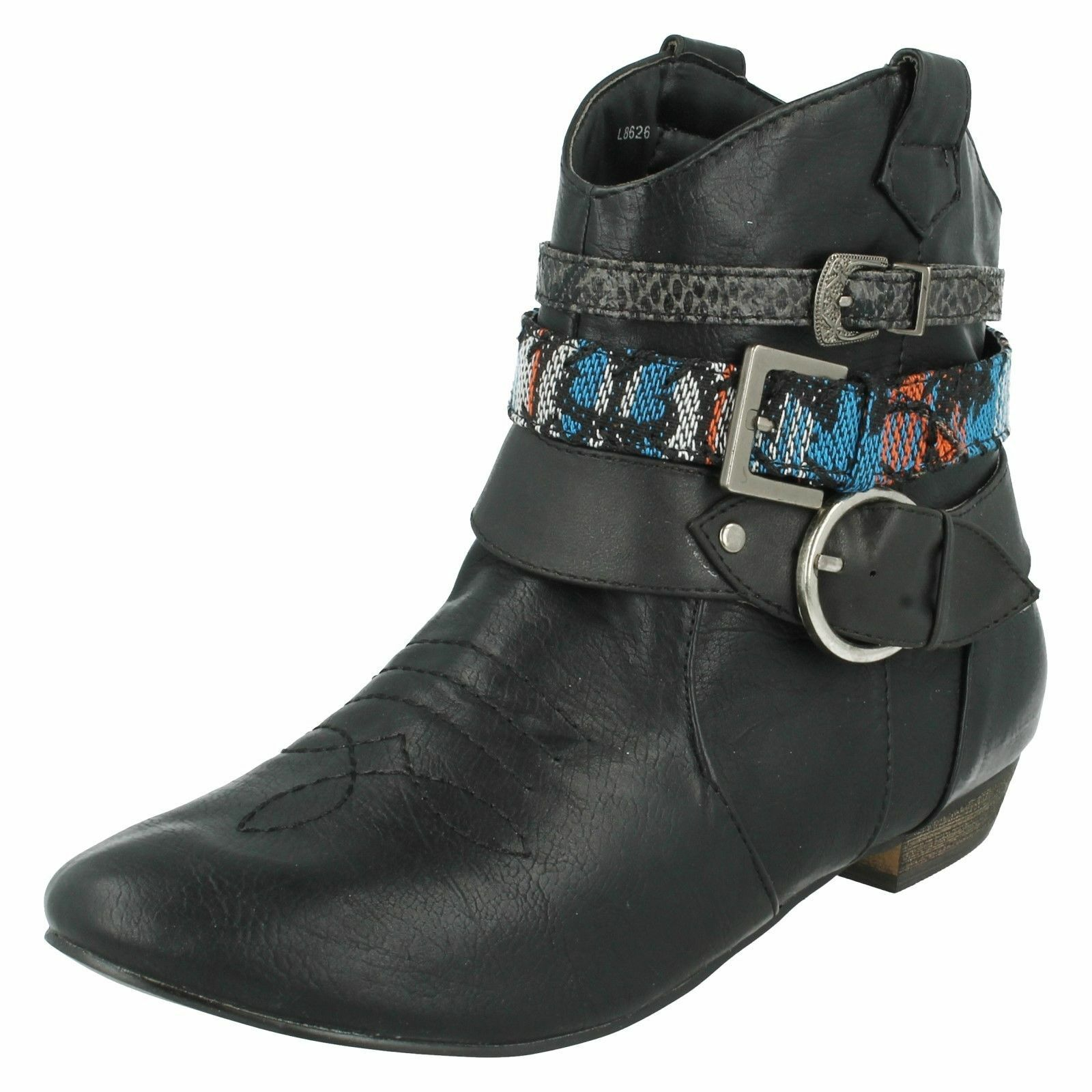 Spot On L8626 Ladies Black Cowboy Pull-On Ankle Boots w/Ankle Straps(R36B)(K<wbr/>ett)