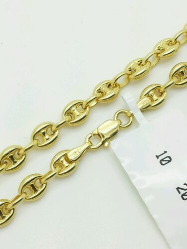 """14k Yellow Gold Puffed Mariner Anchor Chain Anklet 10/"""" 4.7mm"""