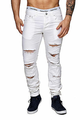 MEGASTYL Herren Hose Ripped Jeans Weiß Slim Fit Stretch Denim | eBay