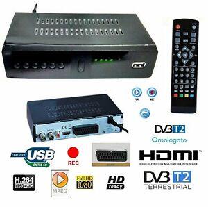 DECODER RICEVITORE DIGITALE TERRESTRE DVB-T2 TV SCART HDMI 1080P USB