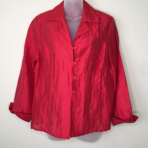 Mainbocher Women's Blazer Jacket Red Linen Size 10