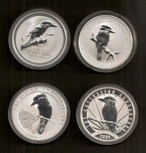 Australien je 1 Unze Silber Kookaburra 2003, 2005, 2008 und 2009