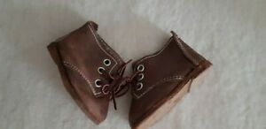 Brown-Leder-Boots-Shabby-Handarbeit-2-13-16in-Sole-Length-For-Bear-Or-Doll