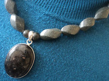 Welsh Slate & Nuumite Quartz Pendant Necklace  Hand Made in Wales Llechi Cymreig