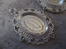 Fancy Silver Plated Oval 18X13mm Settings Pendant - Cabochon Frames - Qty 6