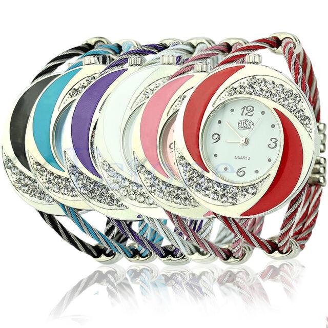 Hot Fashion Women Round Crystal Decor Bangle Bracelet Cuff Analog Quartz Watch