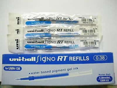 6Pcs UMR-83 for Uni-Ball UMN-138 0.38mm roller ball pen only refill Blue Japan