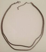 collier vintage couleur argent rhodié deux chaines ronde déco 3349