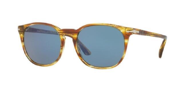 6c070e3655d Authentic PERSOL Sun STRIPED BROWN YELLOW BLUE Lens Square 53 PO 3007-S  105056