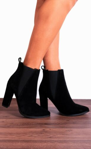 CHELSEA ELASTIC POINTED BLOCK HIGH HEELED HEELS ANKLE BOOTS SHOES SIZE 3-8