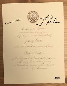 Jimmy Carter /& Rosalynn Carter President Beckett Signed Inauguration Letter