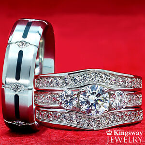 image is loading his amp hers 4 pcs womens sterling silver - Titanium Wedding Ring Sets