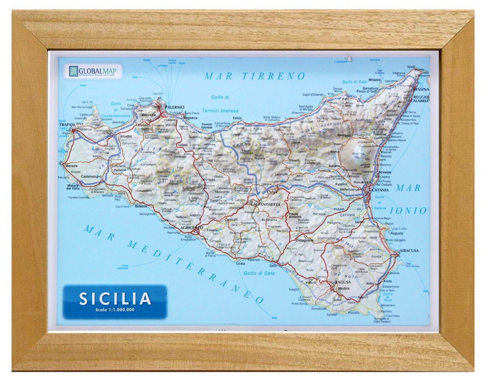 Cartina Mappa Sicilia.Sicilia Carta In Rilievo 21x30 Cm Con Cornice In Legno Cartina Mappa Ebay