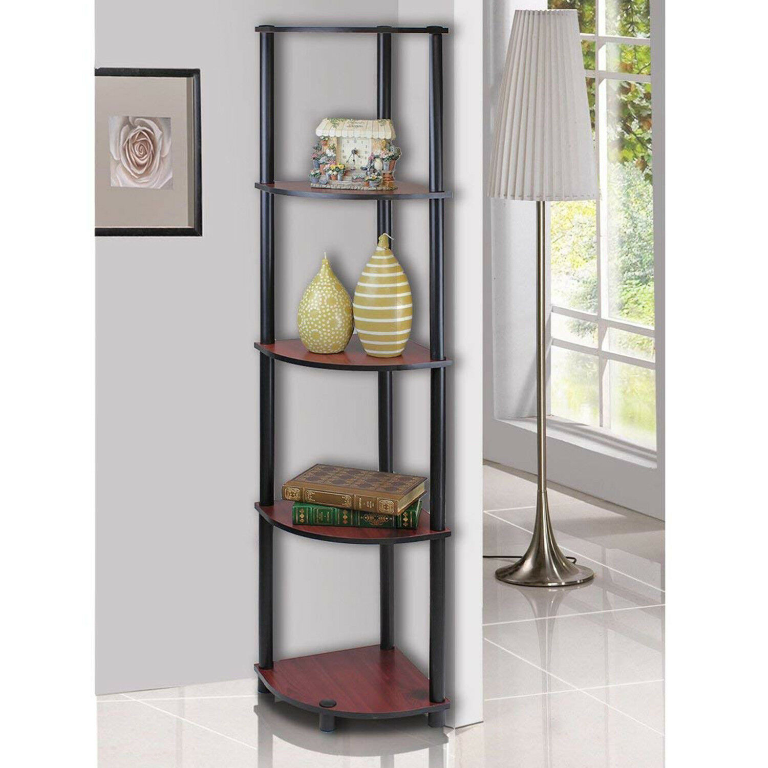 Details About 5 Tier Modern Bookcase Shelfving Display Wall Wood Rack Bath Room Wall Decor Us