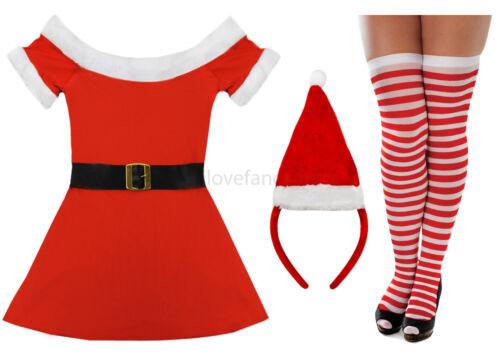 MISS SANTA COSTUME LADIES FATHER CHRISTMAS FANCY DRESS OPTIONAL ACCESSORIES