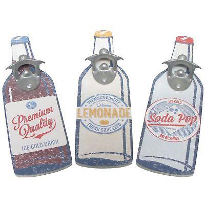 Retro Wooden Beer Bottle Shaped Wall Mounted Drinks Cap Top Opener Novelty Gift