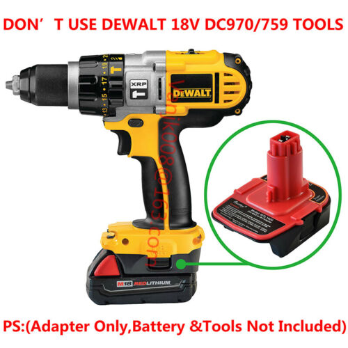 RED Details about  /DEWALT18V XPR//DC9096 TOOLS Adapter Work with Milwaukee M18 Li-ion Battery