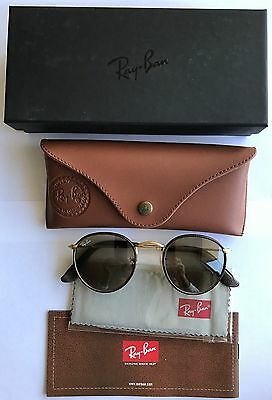 Ray Ban Sunglasses Brown Leather RB3475Q 53mm Authentic New in Box Reg $200