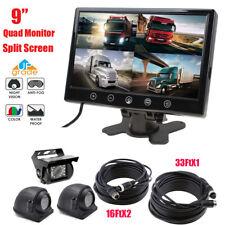 "7/"" Quad Split Rear Side View Monitor+CCD 4PIN Backup Camera*2 Truck VAN Trailer"