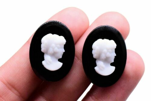 10 White Black Woman Cameo Cabochon Germany 24 x 18 mm Vintage