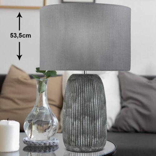 Keramik Lampe Schlaf Zimmer Beleuchtung grau Textil Schreib Nacht Tisch Leuchte