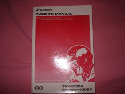 SPORTRAX400EX Owners Manual HONDA 2003 TRX400EX