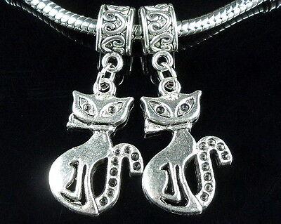 Free Ship 100Pcs Tibetan Silver Cat Charms Dangle Beads Fit pendant Bracelet