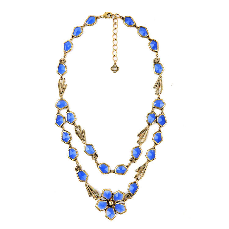 Halskette golden Art Deco Unregelmäßige bluemen- Zwei Rang blueme blue Fein
