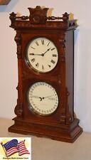 RESTORED SETH THOMAS PARLOR CALENDAR 11-1891 ANTIQUE CLOCK IN DARK FUMED OAK