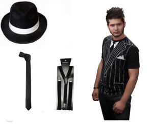d0962031 BLACK GANGSTER HAT TIE BRACES T SHIRT SET TRILBY AL CAPONE FANCY ...