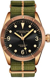 Stuhrling Forti 3958 Men's Quartz Miyota 41mm 10 ATM Nylon Strap Diver Watch