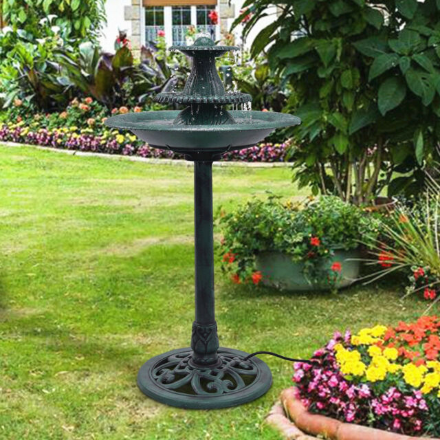 Bird Bath Water Fountain W/ Pump 3 Tier Pedestal Garden Patio Outdoor Decor