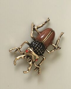 Unique-Insect-scarab-large-Pin-brooch-In-Enamel-on-Metal