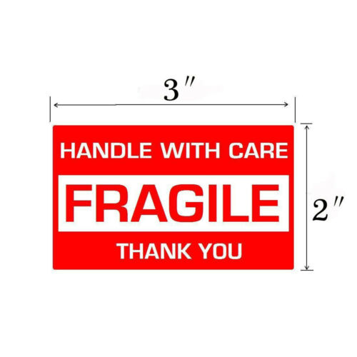 """2//4//6//8//10//20 Rolls FRAGILE Stickers 2/""""x3/"""" Handle With Care Thank You Label New"""